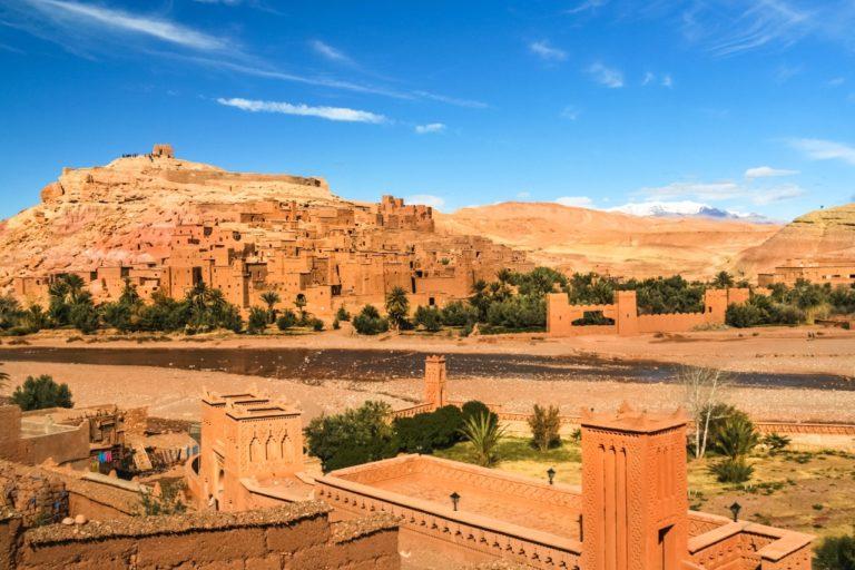Panorama of the ancient moroccan kasbah Ait Benhaddou, near Ouarzazate, Morocco - Unesco world heritage.