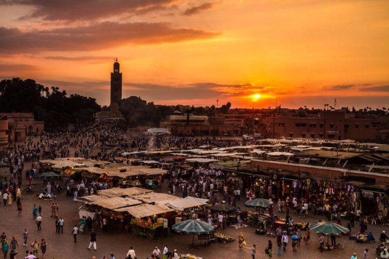 Jamaa el Fna also Jemaa el Fnaa, Djema el Fna or Djemaa el Fnaa is a square and market place in Marrakesh's medina quarter (old city). Marrakesh, Morocco, north Africa. UNESCO Masterpiece of the Oral and Intangible Heritage of Humanity.
