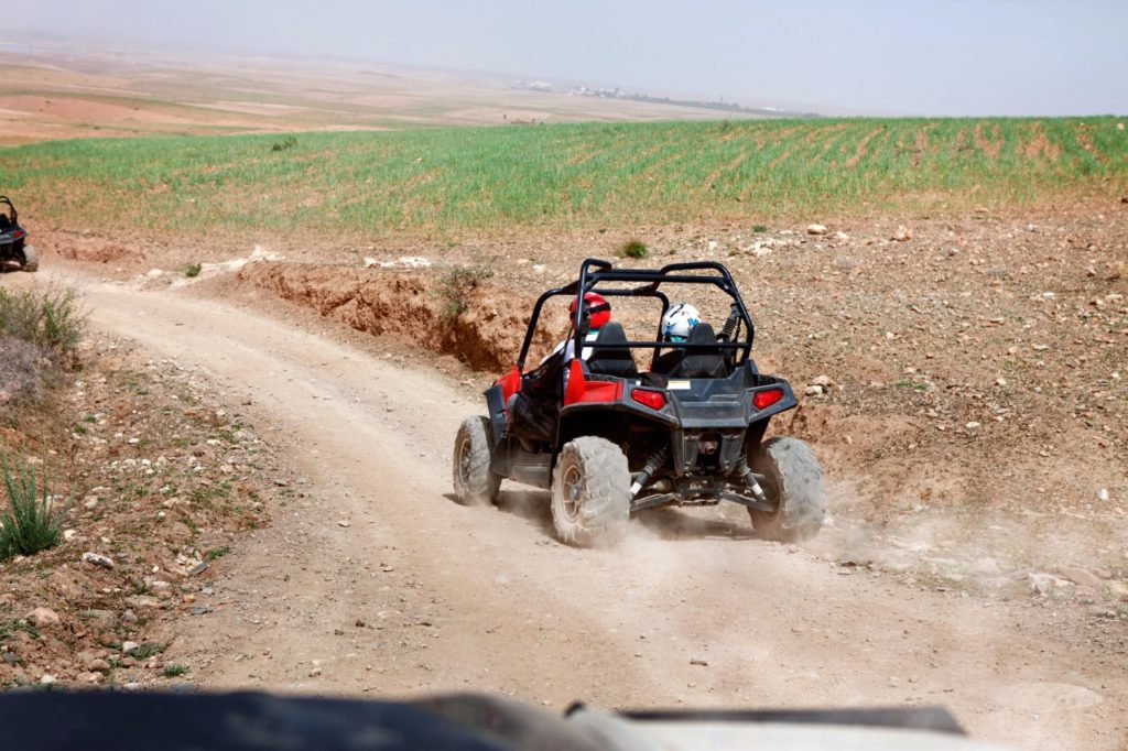Person on quadbike in the desert, beautiful view