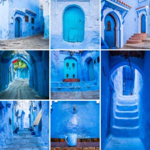 collage photo composition of Chefchaouen in Morocco